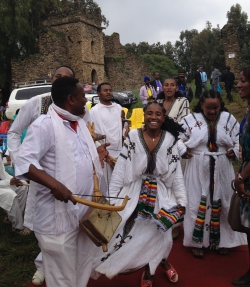 Dancers prepare to perform at the University of Gondar's Diamond Jubilee.