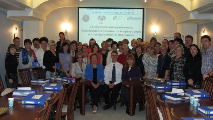 Dr. Chris Behrens (center) and participants at a pilot training event in Uzhgorod.