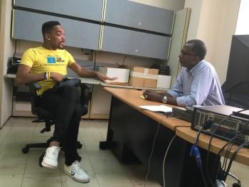 A patient-trainer performs a scenario with a clinician in Trinidad..