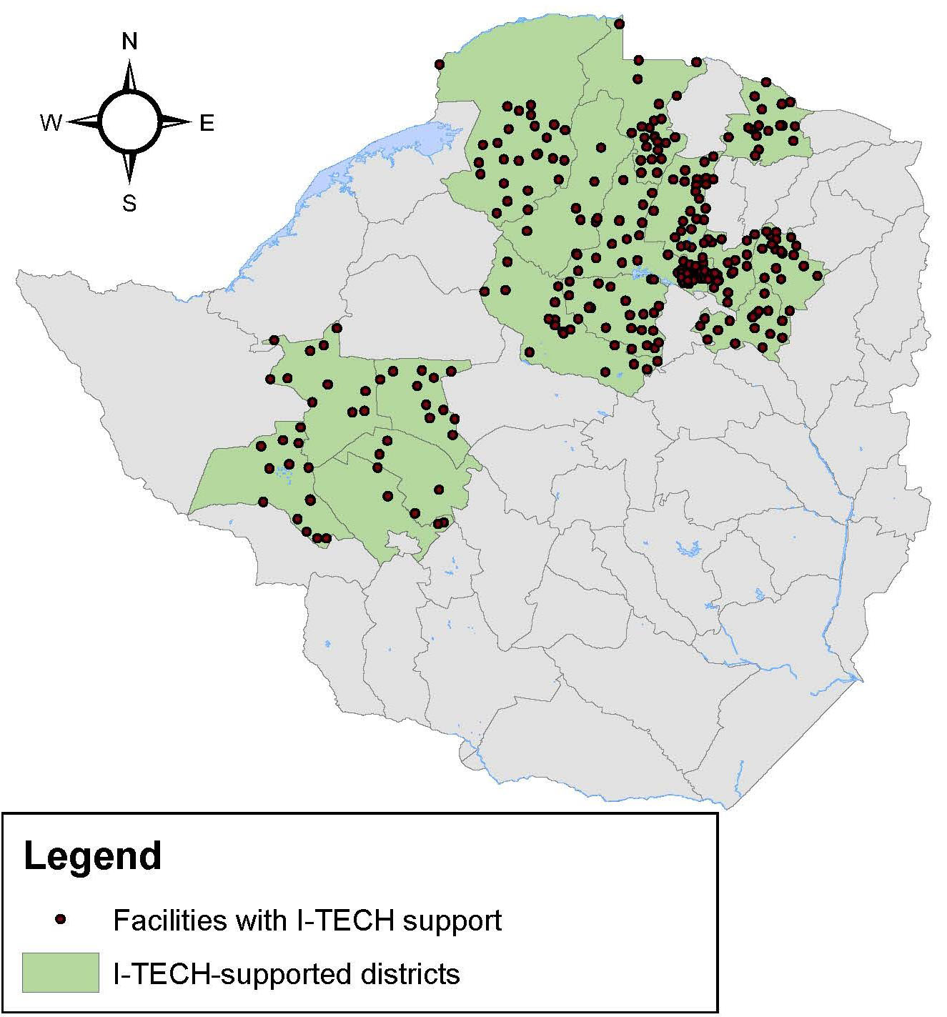 I-TECH Zimbabwe Care and Treatment Sites and Districts