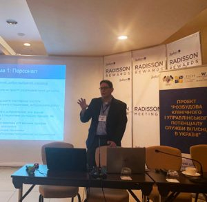 Dr. Matthew Golden presents at the Index Testing Forum in Ukraine.